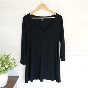 Eileen Fisher Black V Neck Long Blouse